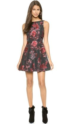alice + olivia Jorah Box Pleat Floral Dress
