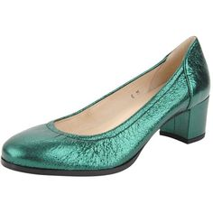 Damas (180 CAD) ❤ liked on Polyvore featuring shoes, pumps, green metallic leather, green pumps, mid heel shoes, green leather shoes, jon josef shoes and rainbow shoes
