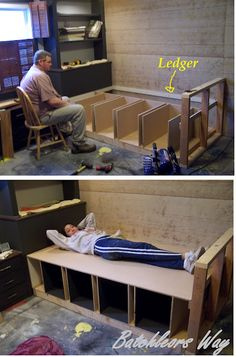 Make storage baskets under the built in couch
