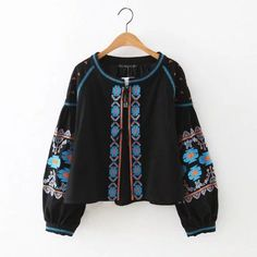 Embroidered Lantern Sleeve Bomber Cardigan