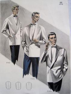 Vintage French Fabulous 1956 Mens Fashion Print Mad Men Style