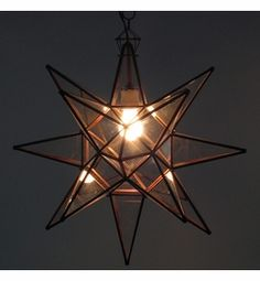 Large Copper & Glass Star Light Fixture