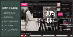 """""""Beautiful Shop PSD """" is a PSD template designed for Online shop. The design is very elegant and modern, and also very easy to customize."""
