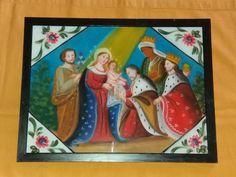 Dipinto su Vetro Adorazione dei Magi (repro) cm 40×30