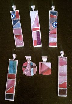 pink mosaic necklaces by Mosaic Geek, via Flickr