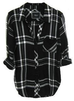 Side Slit Long Sleeve Plaid Button Up Shirt | Shirt collars, Plaid ...