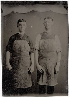 Two Workmen in Aprons - Occupational Tintype