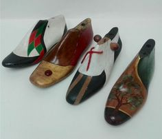 Old cobblers shoe lasts turned into great display items.
