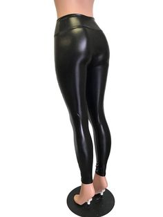 f9474acaf79 Metallic Black Faux Leather Leggings Pants - Rave