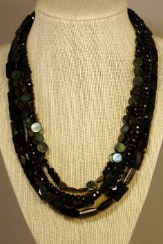 Four Strands of Onyx on Etsy, $185.00