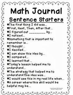 I use math journals in my Math Workshop. I like the idea of using Math Journal Sentence starters with my students. This would serve as a great way to incorporate writing in math and allow students to expand their thinking. Math Strategies, Math Resources, Multiplication Strategies, Communication Orale, Daily 5 Math, Daily 3, Fourth Grade Math, Grade 5 Math, Math 2