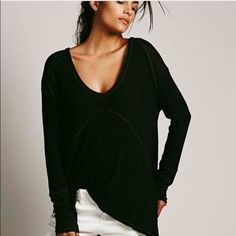 Free people sunset park thermal In black color. Has raw edges Free People Tops Tees - Long Sleeve
