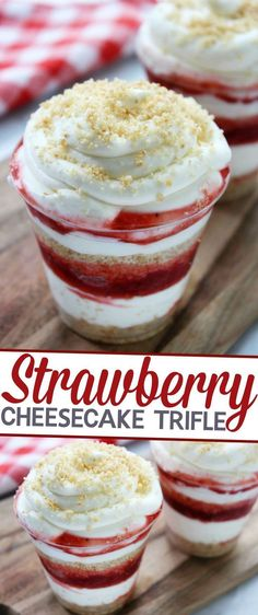This Strawberry Cheesecake Trifle is an easy, no fuss, summer dessert perfect for serving at summer parties!This Strawberry Cheesecake Trifle is an easy, no fuss, summer dessert perfect for serving at summer parties! Dessert Nachos, Trifle Desserts, Strawberry Desserts, Party Desserts, Cheesecake Recipes, Just Desserts, Delicious Desserts, Dessert Recipes, Yummy Food