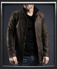 Brown leather jacket for men.