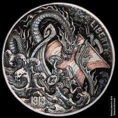 "Hobo Nickel ""Sea Serpent"" hand-engraved by Aleksey Saburov."