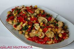 in the kitchen: Red Pepper Salad with Mushrooms - Delicious Meets Healthy: Quick and Healthy Wholesome Recipes Turkish Salad, Turkish Recipes, Ethnic Recipes, Appetizer Salads, Cooking Recipes, Healthy Recipes, Exotic Food, International Recipes, Food Presentation