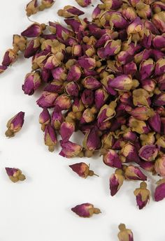 Purple table? Green table? Red Rose Boutons Tiny Dried Rosebuds $23 lb.
