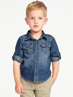 Rolled-Sleeve Denim Shirt for Toddler Boys