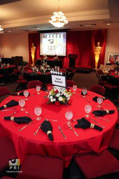 Hollywood themed event with red and black linens.