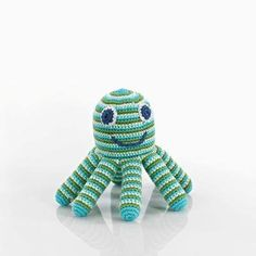 Fair Trade Pebble Octopus Rattle In Green