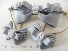 ≪再販≫親子でお揃いバレッタとヘアゴムセット(グレー) 2x Ribbon Hair Bows, Diy Hair Bows, Diy Bow, Ribbon Art, Diy Ribbon, Ribbon Crafts, Diy Hair Accessories, Handmade Accessories, Fabric Bows