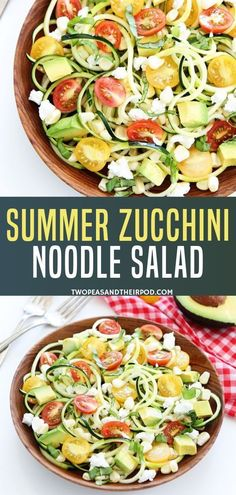 Turning zucchini into noodles is fun and tasty! This fresh and simple Summer Zuc. Health Salad Recipes, Green Salad Recipes, Healthy Summer Recipes, Summer Salad Recipes, Easy Salad Recipes, Easy Salads, Summer Salads, Side Dish Recipes, Freezer Recipes