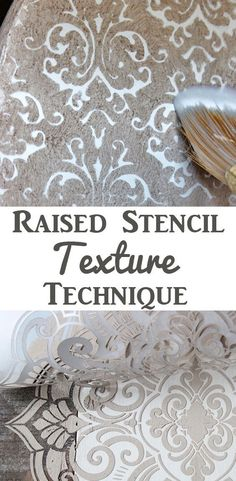 Discover thousands of images about Raised Stencil Texture Technique. This is a beautiful DIY method for adding some gorgeous texture to Painted Furniture and Home Décor Projects. By Thicketworks for The Graphics Fairy. Graphics Fairy, Handmade Home Decor, Diy Home Decor, Decor Crafts, Painted Furniture, Diy Furniture, Furniture Chairs, Rustic Furniture, Furniture Layout
