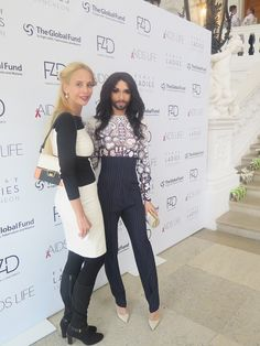 Eurovision Song Contest winner & transgender icon Conchita Wurst, launched her highly anticipated autobiography at the 2015 London Book Fair. EYES IN™ Magazine Editor in Chief Vivian Van Dijk is pictured above with Conchita Wurst at the 2014 AIDS charity Life Ball.