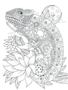 Illustration about Adult coloring page - chameleon bedecked with jewels. Illustration of wallpaper, page, decoration - 70974624 Printable Adult Coloring Pages, Cute Coloring Pages, Animal Coloring Pages, Coloring Books, Dover Coloring Pages, Geometric Coloring Pages, Mandala Coloring, Coloring Sheets, Chameleon Color