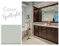 Rooms painted with Comfort Gray from Sherwin Williams.  Color Spotlight.  The Creativity Exchange