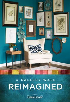Get tips and ideas on how to create a dynamic corner gallery wall by including picture frames, mirrors, unique pieces, natural elements and more.