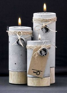 en ciment et bois diy - Candelabros beton Cement Art, Concrete Crafts, Concrete Art, Concrete Projects, Concrete Design, Concrete Planters, Papercrete, Concrete Furniture, Creation Deco