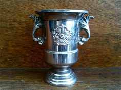 Vintage English silver plated rose trophy cup posy vase circa 1960's Purchase in store here http://www.europeanvintageemporium.com/product/vintage-english-silver-plated-rose-trophy-cup-posy-vase-circa-1960s/