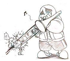 Just imagine Sans playing Megalovania with the Trombone. Flowey Undertale, Undertale Comic Funny, Undertale Memes, Undertale Drawings, Undertale Fanart, Frisk, Sans And Papyrus, Toby Fox, Underswap