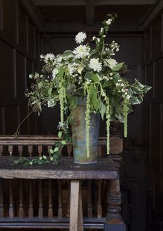 For a cascading effect, green amaranthus, jasmine for fragrance & the last of the passionflower vine