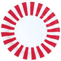 Paper Party Plates - Candy Cane Red