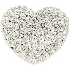 Swarovski Crystal Silver Heart Lapel Pins Valentines Pin Brooch