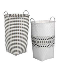 Tall Plastic Laundry Basket Foldable Hamper With Lid  White  Hamper