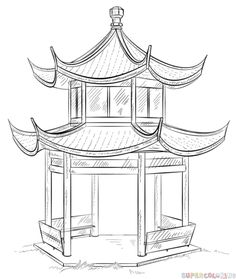 Chinese Architecture Drawing Pagoda Drawing Chinese Pagoda By