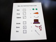 build a snowman dice game. My kids love dice games. Print it out, laminate and let the learning/fun begin. Snowman Games, Make A Snowman, Frosty The Snowmen, Speech Activities, Preschool Games, Craft Activities, Indoor Activities, Educational Activities, Preschool Activities