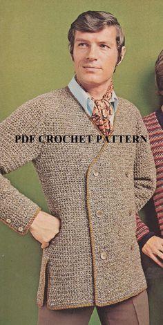 Vintage 1970's Men's Tweed Jacket Crochet PDF by KatnaboxCrochet