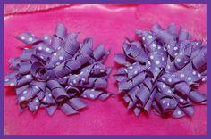 Purple SET (2) KORKER HAIR BOWS with Alligator Clips #Handmade