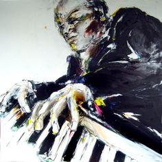 N&B Piano Galerie Corps & Ame Nîmes - Peinture,  100x100 cm ©2013 par Christian Vey -            peinture jazz