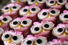 pink owl cupcakes.  Thanks @Heather Hibbard for showing me these - they are adorable!!