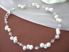Armbänder - Brautschmuck Armband Süßwasserperlen und Kristalle - ein Designerstück von PePerla bei DaWanda