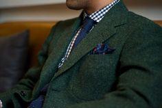 green tweed blazer, navy gingham check, knit tie, navy w/ red ...