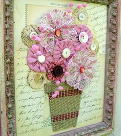 A closer view of the pink collage.  The flower pot is a piece of upholstery webbing.