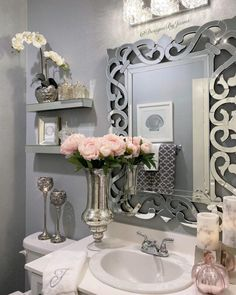 Bathroom Accent Wall, Bathroom Wall Decor, Bathroom Interior Design, Bathroom Designs, Bathroom Ideas, Room Decor, Bathroom Organization, Glam Bedroom, Glam House