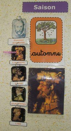 Voici le deuxième mobile d'Arts Visuels de cette année sur les célèbres tableaux de Giuseppe Arcimboldo consacrés aux saisons ! J'ai accroché le tout de façon linéaire pour que les élèves puissent construire l'ordre des saisons et l'utiliser dans les rituels du matin. De temps en temps, je décroche toutes les images et charge un élève de les ordonner de nouveau :p ! Les affiches des saisons autour de l'arbre sont réalisés grâce aux illustrations de Bout de Gomme CM2. Merci à lui ! Creation Art, Core French, Ecole Art, Petite Section, Teacher Organization, Art Plastique, Classroom Decor, Giuseppe Arcimboldo, Picasso