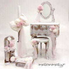 Set βάπτισης «Vintage Μπουντουάρ» Δαντέλα Christening, Boudoir, Candles, Vintage, Wedding, Home Decor, Decorated Boxes, Valentines Day Weddings, Powder Room
